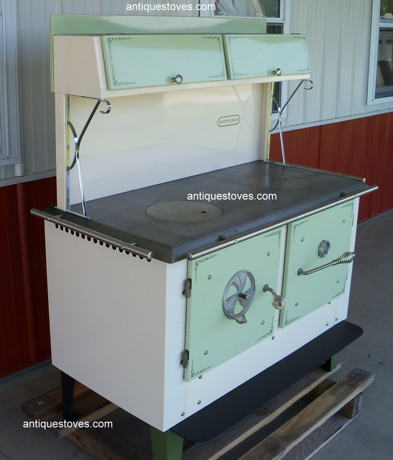 Kitchen Queen Wood Cook Stove, Green and Cream